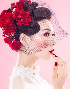 鲜花头饰新娘化妆