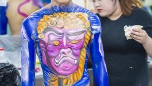 蒙妮坦形象艺术学校两年制学员身体彩绘考试